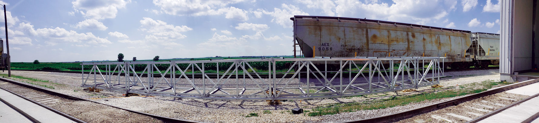 <b>This panoramic image shows a bridge section prior to installation at the Iowa Corn Processors plant in Glidden, Iowa, where Carl A. Nelson & Company is the construction manager at-risk for a rail loadout sifting project.</b> (CANCO photo by Chris Clark)