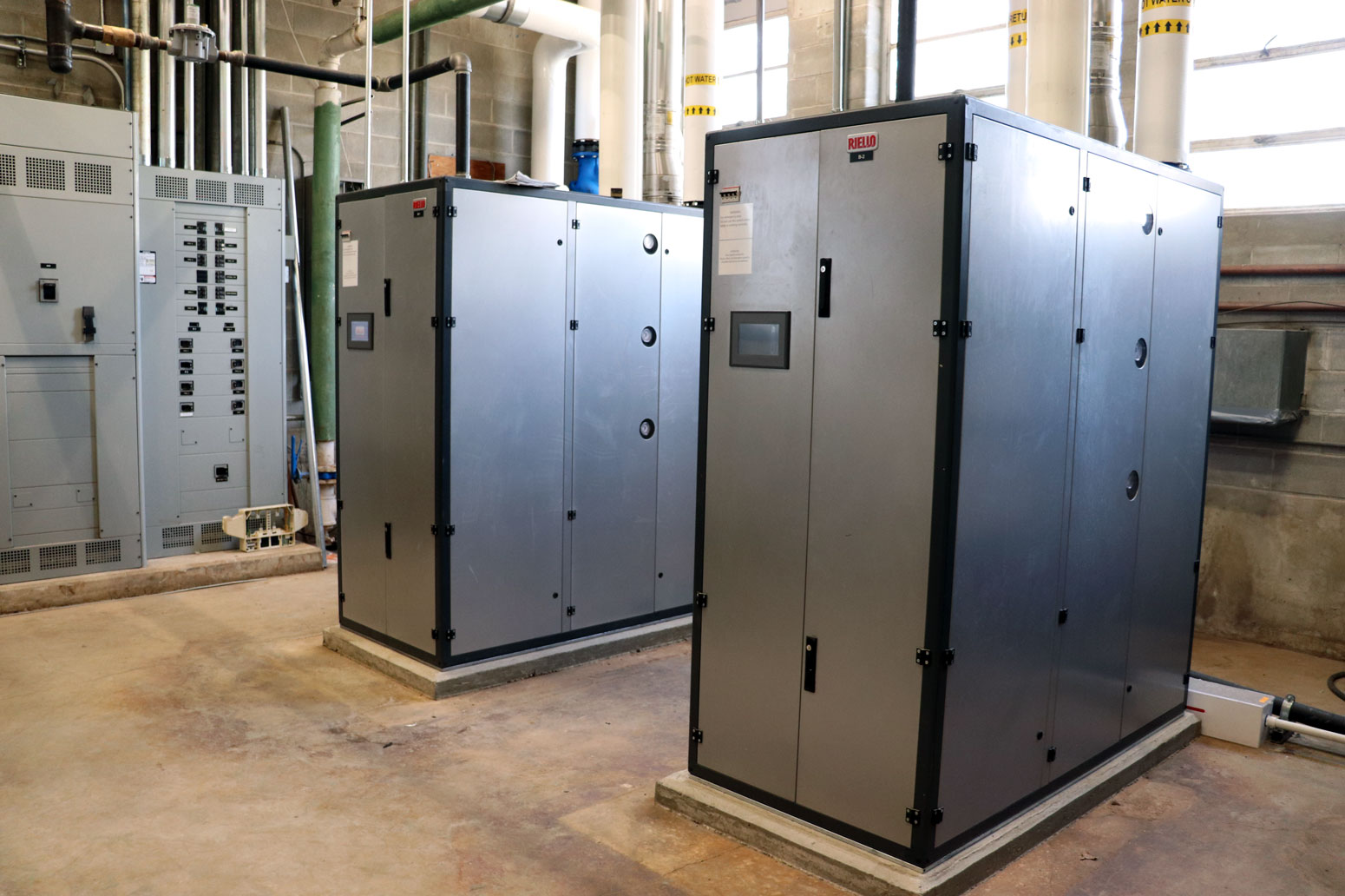 <b>New boilers were part of a retro-commissioning of the existing HVAC system at Shenandoah High School that resulted in a combination of new and existing hardware, and a budget savings of $500,000. </b>(CANCO photo)